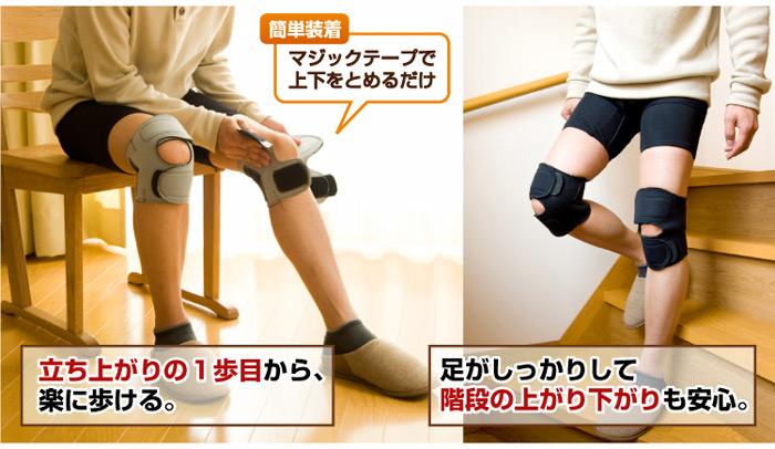 立ち上がりの1歩目からラクに歩ける。簡単装着。階段の上がり下がりも安心。> <img src=