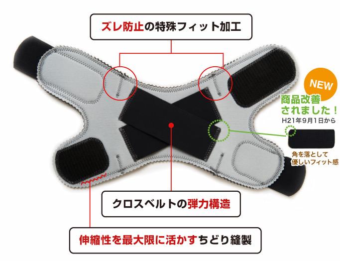 ズレ防止の特殊フィット加工。クロスベルトの弾力構造。伸縮性を活かすちどり縫製